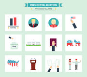 USA presidental election Icons set. Vote concept symbols in flat style. Stock Photos