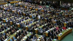 USA-presidenten Barack Obama rymmer ett anförande, generalförsamlingen av Förenta Nationerna