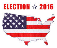 USA 2016 Presidential Election Flag. USA 2016 Presidential Election with image of Stars and Stripes in outline of the American map on white background with Royalty Free Stock Photo