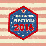 USA presidential election 2016 in hexagon frame banner Royalty Free Stock Photo