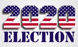USA presidential Election 2020. 2020 presidential election letters with USA flag pattern on grey background stock illustration