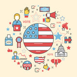 USA Presidential Election 2016 Line Art Thin Icons Set. USA Presidential Election 2016 Line Art Thin Vector Icons Set Stock Photography
