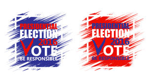 USA presidential election poster. Brush strokes background. Stock Photos