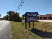 USA Presidential Election, Trump 2016, Good Business, No Politics. Trump 2016, Good Business, No Politics: A billboard in front of a corporate park endorses Stock Photo