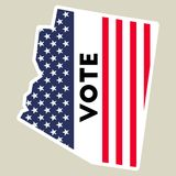 USA presidential election 2016 vote sticker. Arizona state map outline with US flag. Vote sticker vector illustration Royalty Free Stock Photography