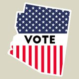 USA presidential election 2016 vote sticker. Arizona state map outline with US flag. Vote sticker vector illustration Stock Image