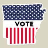 USA presidential election 2016 vote sticker. Arkansas state map outline with US flag. Vote sticker vector illustration Stock Image
