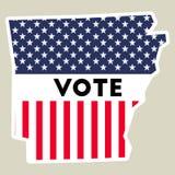 USA presidential election 2016 vote sticker. Arkansas state map outline with US flag. Vote sticker vector illustration Stock Illustration