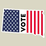 USA presidential election 2016 vote sticker. South Dakota state map outline with US flag. Vote sticker vector illustration Stock Photography