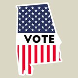 USA presidential election 2016 vote sticker. Alabama state map outline with US flag. Vote sticker vector illustration Royalty Free Stock Image