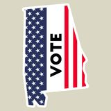 USA presidential election 2016 vote sticker. Alabama state map outline with US flag. Vote sticker vector illustration Royalty Free Stock Photos