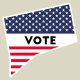 USA presidential election 2016 vote sticker. Connecticut state map outline with US flag. Vote sticker vector illustration Royalty Free Stock Images