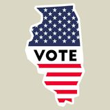 USA presidential election 2016 vote sticker. Illinois state map outline with US flag. Vote sticker vector illustration Stock Photo