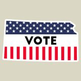 USA presidential election 2016 vote sticker. Kansas state map outline with US flag. Vote sticker vector illustration Royalty Free Stock Image