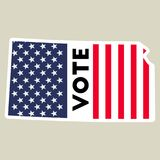 USA presidential election 2016 vote sticker. Kansas state map outline with US flag. Vote sticker vector illustration Stock Image