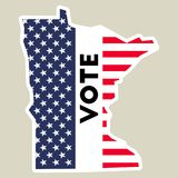 USA presidential election 2016 vote sticker. Minnesota state map outline with US flag. Vote sticker vector illustration Stock Images