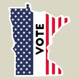 USA presidential election 2016 vote sticker. Minnesota state map outline with US flag. Vote sticker vector illustration Royalty Free Stock Image