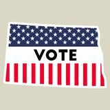 USA presidential election 2016 vote sticker. North Dakota state map outline with US flag. Vote sticker vector illustration Royalty Free Stock Images