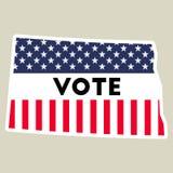 USA presidential election 2016 vote sticker. North Dakota state map outline with US flag. Vote sticker vector illustration Stock Illustration