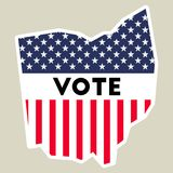USA presidential election 2016 vote sticker. Ohio state map outline with US flag. Vote sticker vector illustration Stock Photo