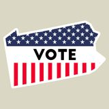 USA presidential election 2016 vote sticker. Pennsylvania state map outline with US flag. Vote sticker vector illustration Stock Images