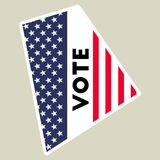 USA presidential election 2016 vote sticker. Rhode Island state map outline with US flag. Vote sticker vector illustration Royalty Free Illustration