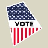 USA presidential election 2016 vote sticker. Rhode Island state map outline with US flag. Vote sticker vector illustration Vector Illustration