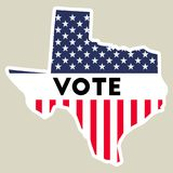 USA presidential election 2016 vote sticker. Texas state map outline with US flag. Vote sticker vector illustration Royalty Free Stock Photo