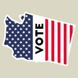 USA presidential election 2016 vote sticker. Washington state map outline with US flag. Vote sticker vector illustration Royalty Free Stock Photography