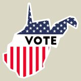 USA presidential election 2016 vote sticker. West Virginia state map outline with US flag. Vote sticker vector illustration Royalty Free Stock Images