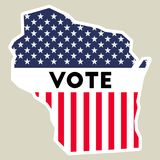 USA presidential election 2016 vote sticker. Wisconsin state map outline with US flag. Vote sticker vector illustration Royalty Free Stock Photo