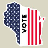 USA presidential election 2016 vote sticker. Wisconsin state map outline with US flag. Vote sticker vector illustration Royalty Free Stock Image