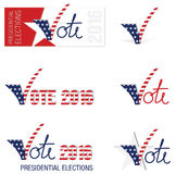 2016 USA Presidential Elections. Vector illustrations; banners and icons for the 2016 USA Presidential Elections Royalty Free Stock Images