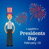 USA Presidents Day greeting card or banner. Elegant man in the US flag hat is put on his head. Festive firework in the background. Flat style design. Vector Stock Photography