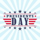 Vector USA Presidents day poster background with stars, stripes and ribbon. Royalty Free Stock Photo
