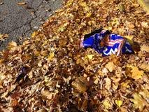 USA presidentval 2016, trumfgårdtecken som bort kastas och klumpa ihop sig upp nära trottoarkanten Royaltyfri Foto