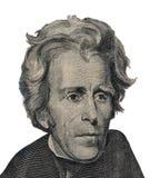 USA prezydent Andrew Jackson stawia czoło na dwadzieścia dolarowych rachunków odosobnionych, zlanych stanu pieniądze zbliżeniach  Zdjęcie Royalty Free