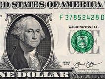USA prezydent George Washington na usa jeden dolarowego rachunku zakończenie up, Zdjęcie Royalty Free