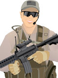 USA Private Military Contractor. In desert uniform - image is separated into layers for easier editing Stock Images