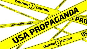USA propaganda. Caution. Yellow warning tapes. Yellow warning tapes with inscription USA PROPAGANDA. CAUTION on the white surface. Footage video stock footage