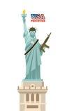 USA protection. Statue of Liberty with gun. Symbol of democracy Stock Photos