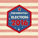 USA-Präsidentschaftswahl 2016 in der Hexagonrahmenfahne Lizenzfreies Stockfoto