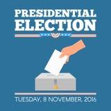 USA-Präsidentschaftswahltageskonzept-Vektorillustration Übergeben Sie das Eingeben des Abstimmungspapiers in die Wahlurne Lizenzfreies Stockfoto