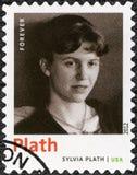 USA - 2012: przedstawienia Sylvia Plath 1932-1963, Amerykańska poeta, powieściopisarz i krótkie opowiadanie pisarz, serii laurea  obrazy royalty free