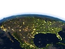 USA przy nocą na planety ziemi Zdjęcia Royalty Free