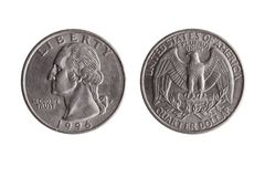 USA quarter dollar coin. USA quarter dollar nickel coin 25 cents with a portrait image of George Washington obverse and Bald Eagle reverse cut out and isolated stock photo