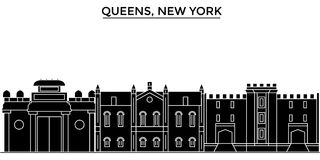 Usa, Queens, New York architecture vector city skyline, travel cityscape with landmarks, buildings, isolated sights on Stock Photography