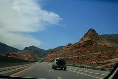 USA Röda berg Nevada eller Utah och ökenväxt royaltyfria bilder