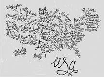 USA ręka Rysująca mapa 03 A royalty ilustracja