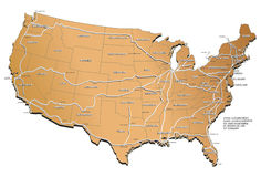 USA railway map. Map of the USA with names of the states, basic railway routes and names of cities Royalty Free Stock Photography